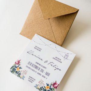 Convite de casamento simples casamento no campo