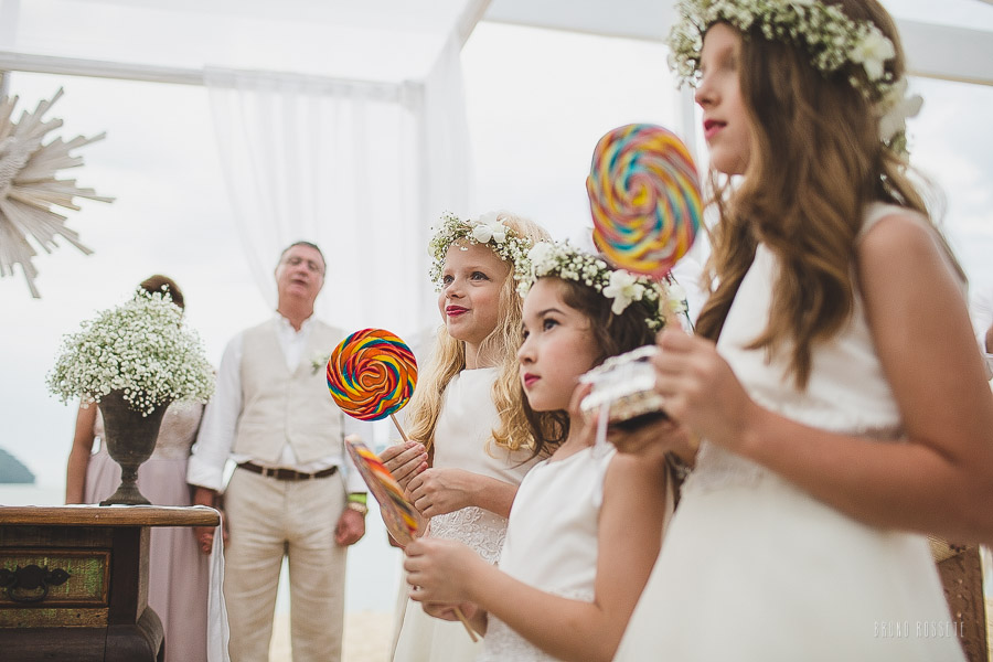 daminhas de casamento na praia