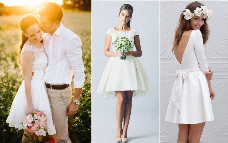 Vestido de noiva curto para casamento no campo