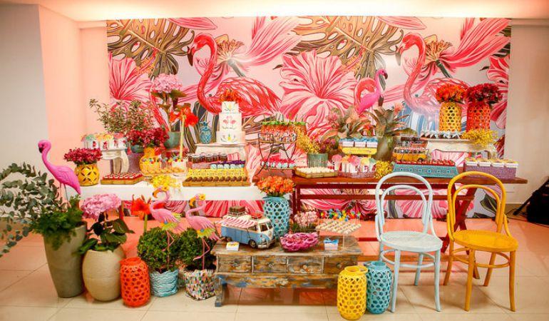 Decoração para Chá de Lingerie Tema Flamingos
