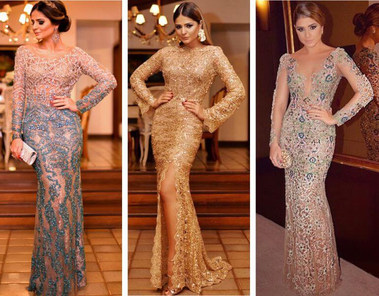 Vestido longo de luxo