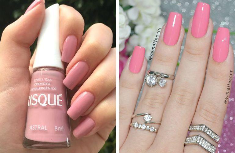 Esmalte de noiva rosa claro