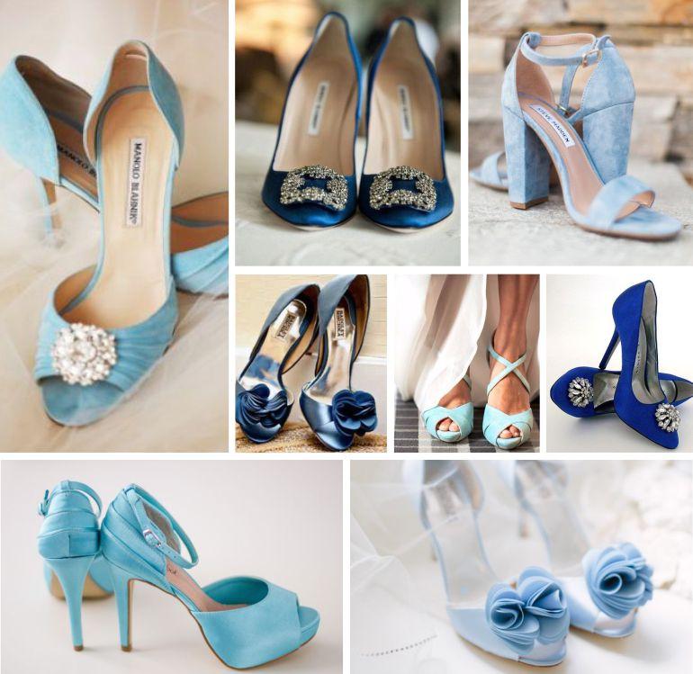 Sapato de noiva azul