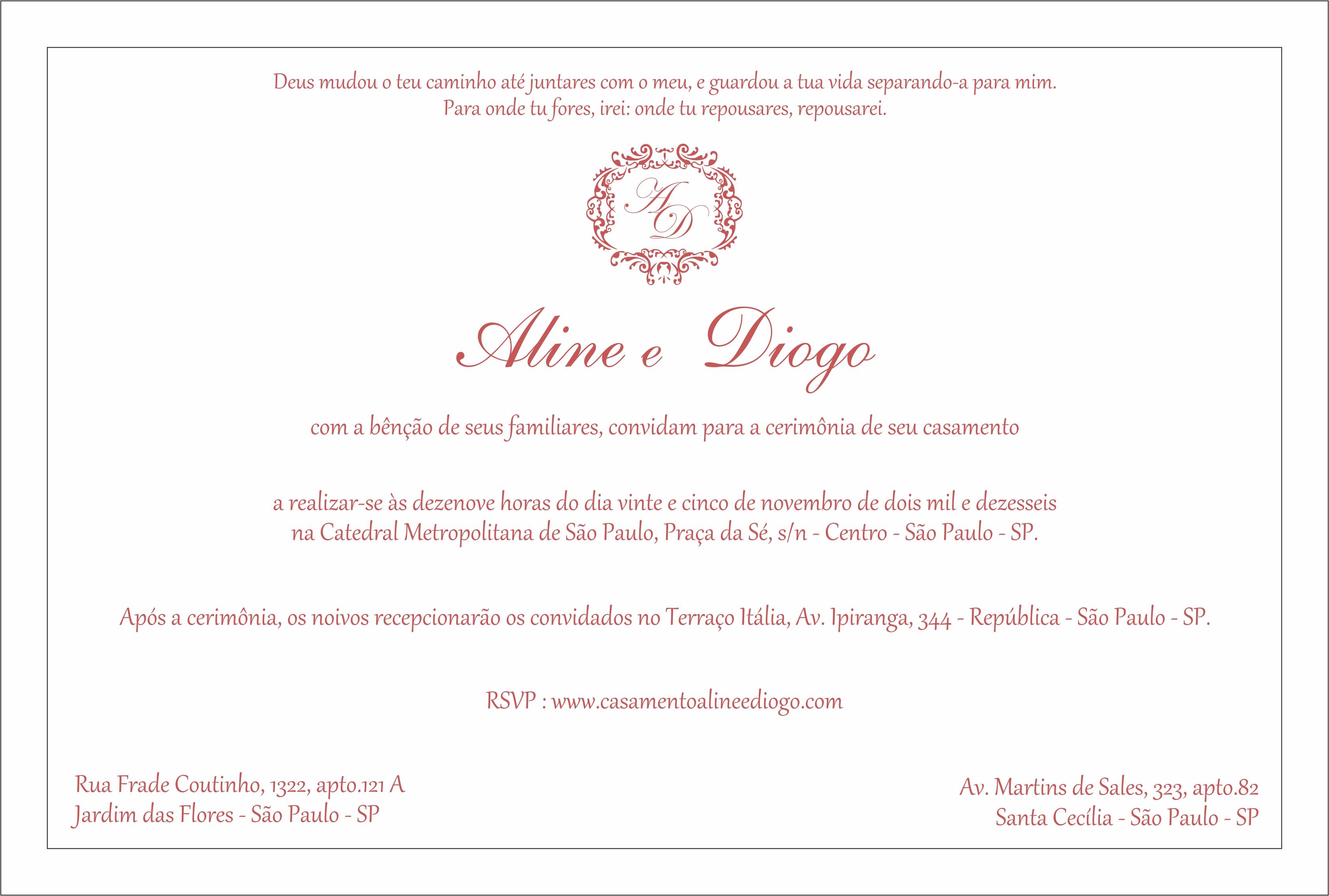 Texto para Convite