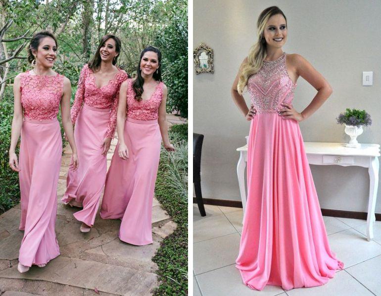 Vestido madrinha rosa