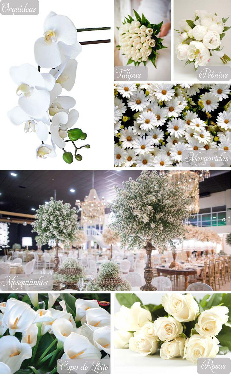 Flores brancas na Decoração de Casamento