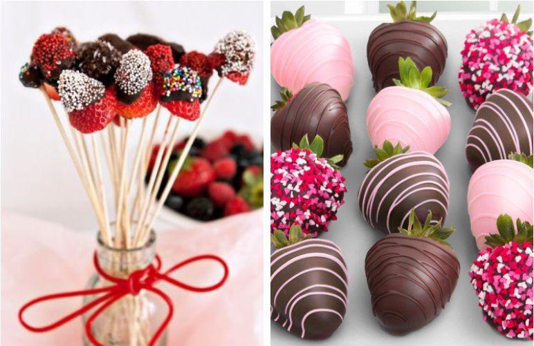 Fruta com chocolate