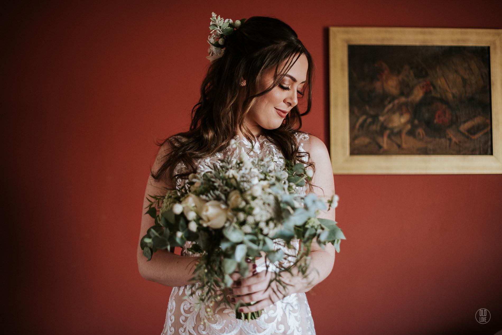 Buquê de noiva branco e verde