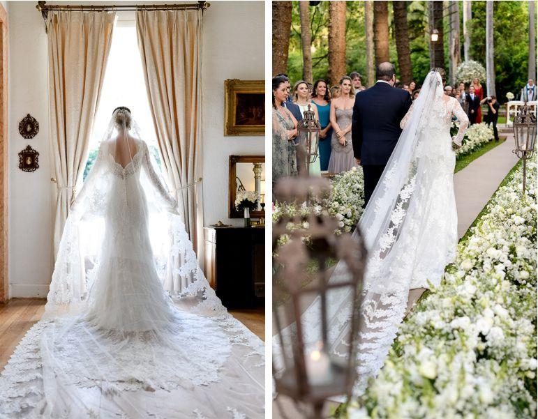 Mantilha de noiva para casamento no campo
