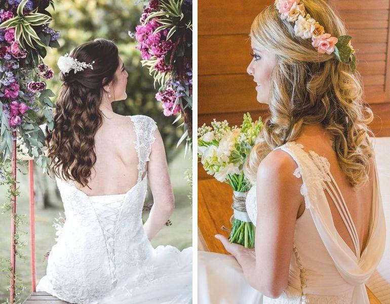 Estilos de Beleza da noiva: penteado meio preso