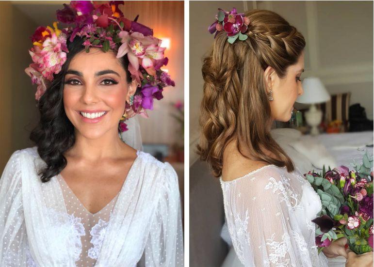 Penteados de noiva com flores | Vickie Jr. Beleza e Studio 55 Beauté