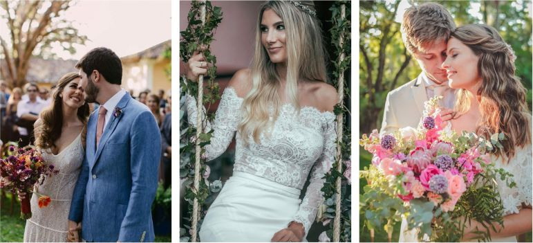 Tendências de penteados de casamento | Frankie e Marilia, Filipe Paes e Carol Reis