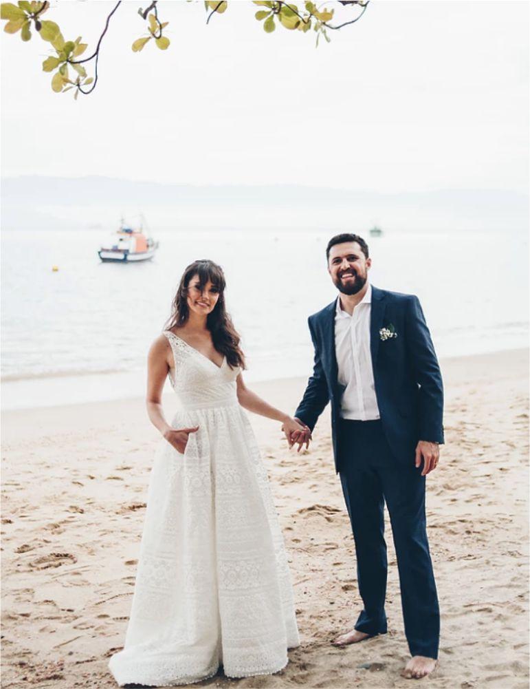 Vestido de noiva praia simples