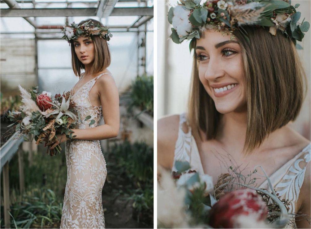 Noiva de coroa de flores